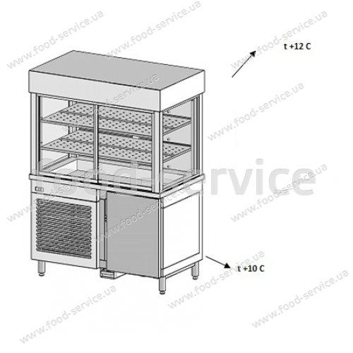 Стол-тумба холодильная с холодильным кубом надставкой Инокс маркет 1200мм, Техно 2