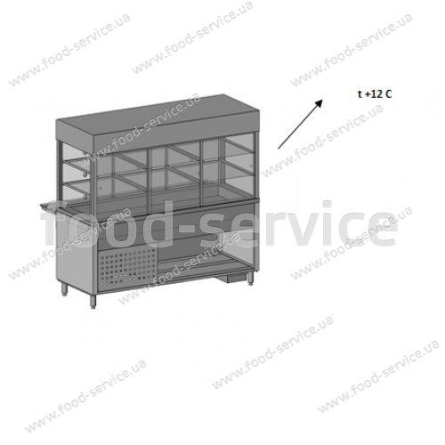 Витрина кондитерская с кубом надставкой и нейтральным основанием Инокс маркет 1500мм, Техно 2