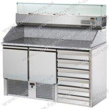 Стол для пиццы с гранитной столешней и витриной DGD SL02C6VR4