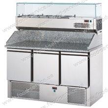 Стол для пиццы с гранитной столешней и витриной DGD SL03PZVR4