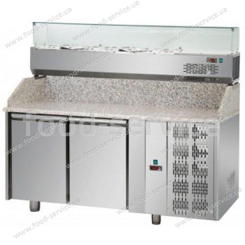 Стол для пиццы со столешницей и салат-баром DGD PZ02EKOGN+VR4