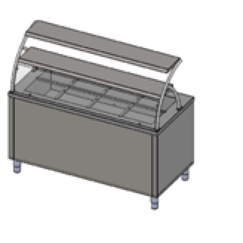 Прилавок холодильный с гнутым стеклом, 2 полки, 3хGN 1/1  Инокс-маркет, Техно 2