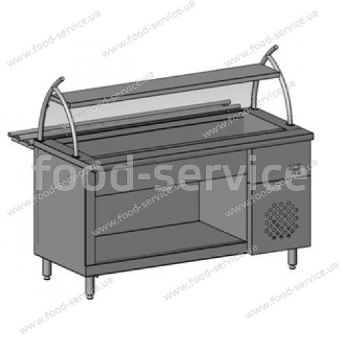 Прилавок холодильный с гнутым стеклом, 1 полка, 4хGN 1/1 Инокс-маркет, Техно 1