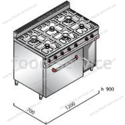 Плита газовая 6 конфорочная Bertos G7F6+FE1