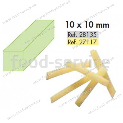 Диск для овощерезки Robot Coupe 28135 (решетка+слайсер), фри 10х10 мм.