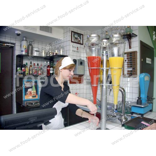 Стойка с 5 колбами для продажи газированных напитков и соков