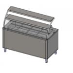 Прилавок холодильный с гнутым стеклом, 2 полки, 3хGN 1/1  Инокс-маркет, Техно 1