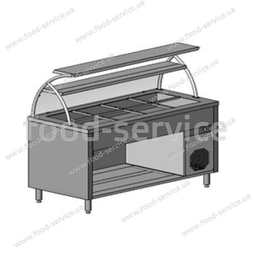 Прилавок холодильный с гнутым стеклом, 2 стекл. полки, 4хGN 1/1  Инокс-маркет, Техно 1