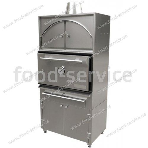 Печь на угле со стендом с решеткой 740х500 мм и тепловым шкафом