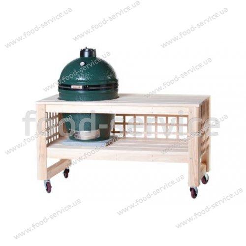 Деревянный длинный стол L5TAB4 с решеткой для грилей Big Green Egg Large