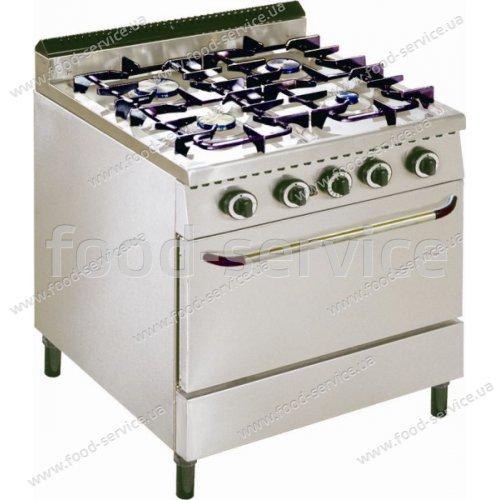 Плита газовая 4 конфорочная с духовкой Inox Electric Volcano 4sf